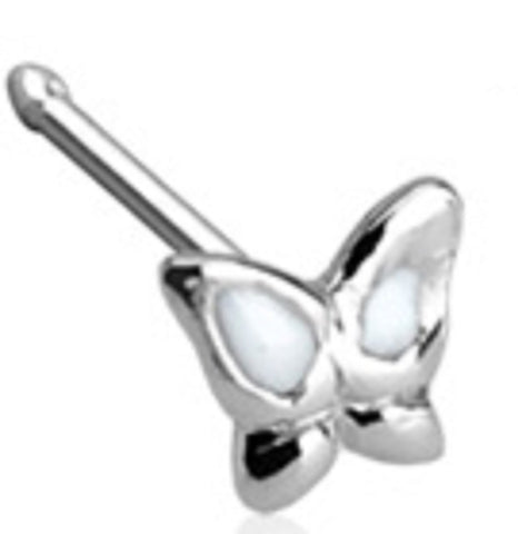 20GA .925 Sterling Silver Nose Stud with 3mm Butterfly