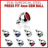 316L Internally Threaded Surgical Steel Press Fit Gem 4mm dermal 14g
