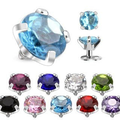316L Internally Threaded Prong Round Gem Dermal Top Anchor 3mm 14g