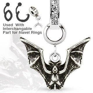 316L Stainless Steel Vintage Bat Dangle Charm for Navel Rings, Dermal Anchors Labret cz top not included
