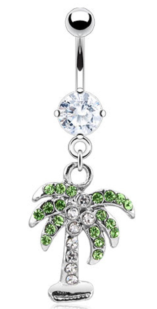 Belly Button Ring Cz Pave Gem Palm Tree 14ga 316l Surgical Steel Navel