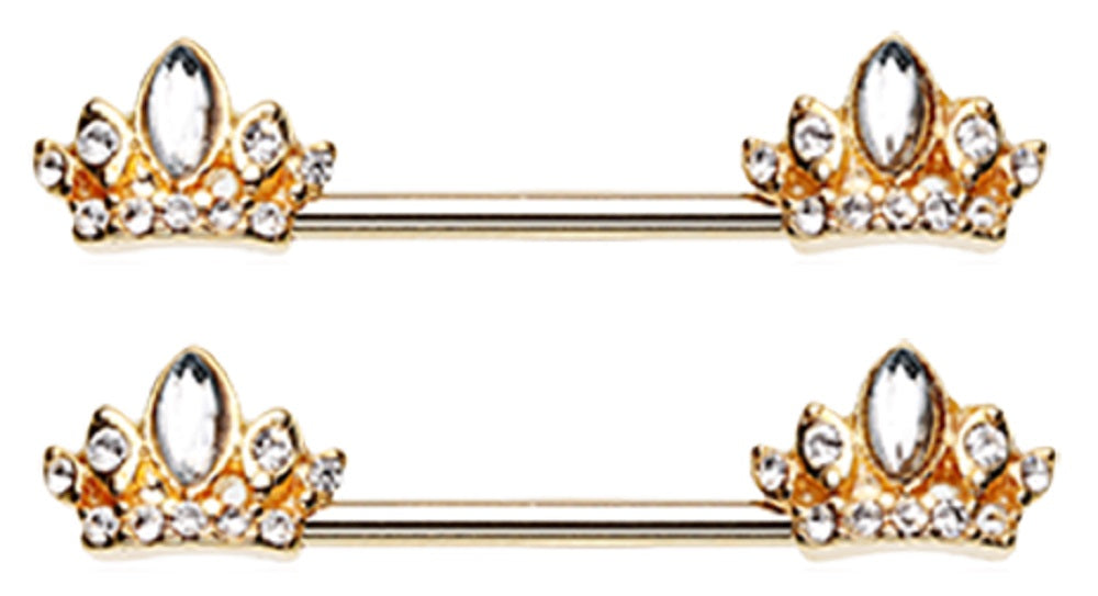 Nipple Bar Golden Tiara Crown Sparkle Barbell Ring Sold as pair