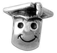 STERLING SILVER Smiley Face w/Graduate's Cap BEAD 5MM HOLE FITS PANDORA