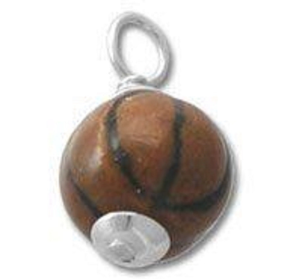 Sterling Silver realistic basketball charm Charm Pendant