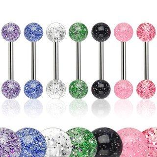 Body Accentz 6 Ultra Sparkle Acrylic Tongue Ring 14g - In Assorted Colors