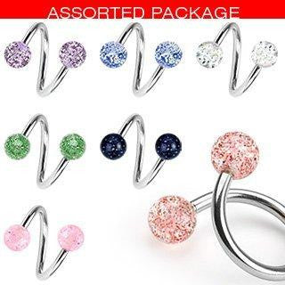 Belly Button Rings Lot of 7 Ultra Sparkle Spiral Twister Navel Body Jewelry Piercing Bar  14g