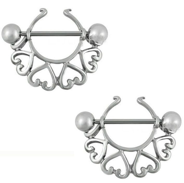 Nipple Shield Rings barbell barbells sold as a pair 14 gauge  Hearts