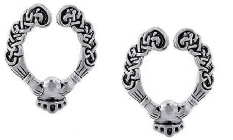 Body AccentzTM Nipple Ring Bars Claddagh non pierce Body Jewelry Pair 14 gauge
