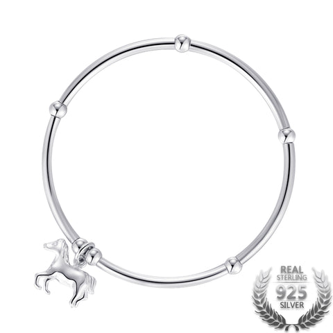 925 Sterling Silver Horse Pendant Bracelet for  DIY Unisex Bracelets and Silver Beads Bracelets Jewelry  (17cm)