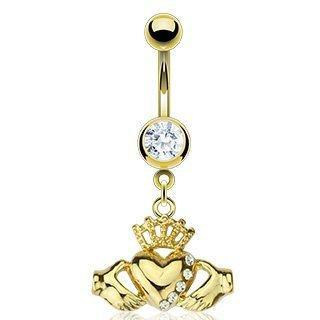 Body Accentz? Belly Button Ring Navel Multi CZ Claddagh Body Jewelry 14 Gauge