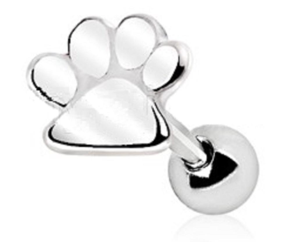 Tragus Piercing 316L Stainless Steel Puppy PawPrint Cartilage Earring Cartilage Tragus 16g 1pc