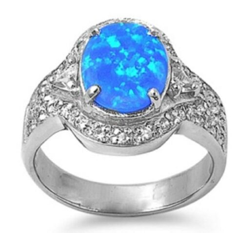 STERLING Silver Lab Opal Ring - Blue Opal