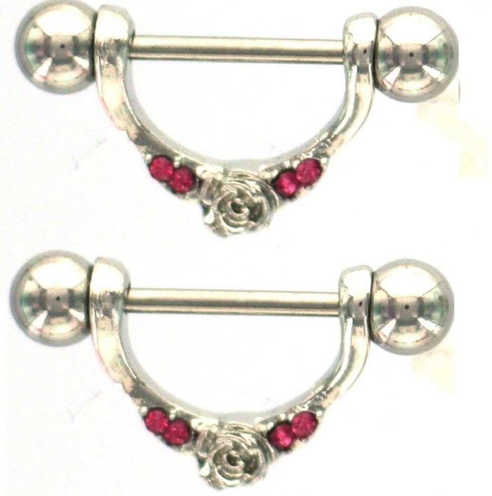Nipple Shield Rings barbell barbells Rose sold as a pair 14 gauge