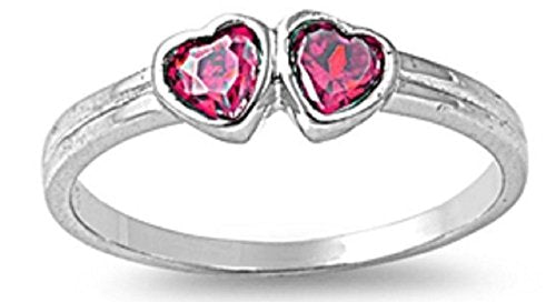 STERLING SILVER Baby RING W/CZ Faux ruby - Double Heart pinky ring Size 4