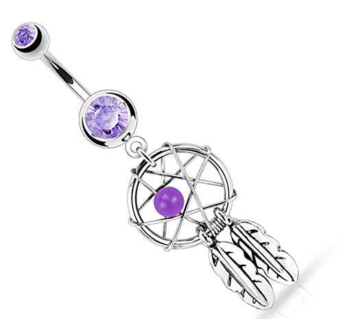 Body Accentz Belly Button Ring 316L Surgical Steel Dream Catcher Woven S... (Purple)