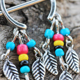 2 pcs 316L Surgical Steel Multi-Colored Beads Feather Dangle Nipple Shield