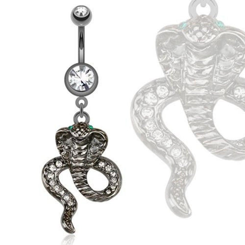 "Belly Button Ring   Steel Hematite Cobra with Green CZ Eyes Dangle Navel Ring 14g 3/8"" bar"