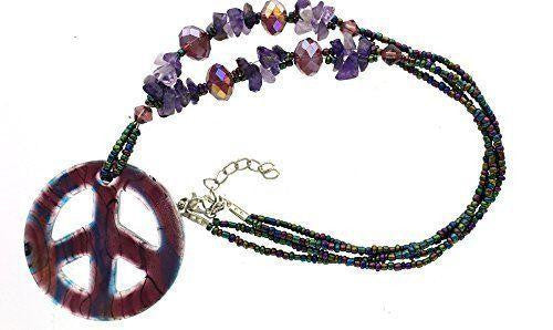 Necklace peace sign and bead necklace
