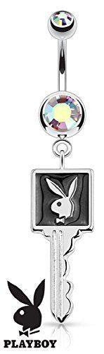 Belly Button Ring Playboy Bunny Enamel Key Surgical Steel Navel  14g 3/8'' bar