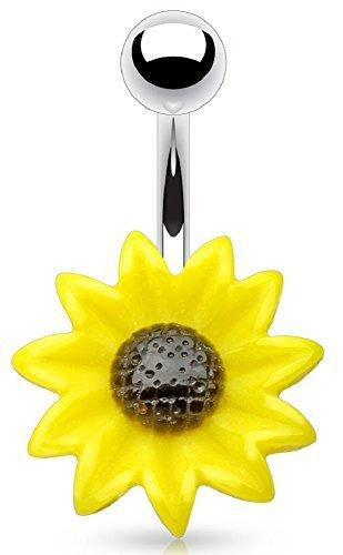 Belly button ring Acrylic Sunflower 316L Surgical Steel Navel Ring [Jewelry]