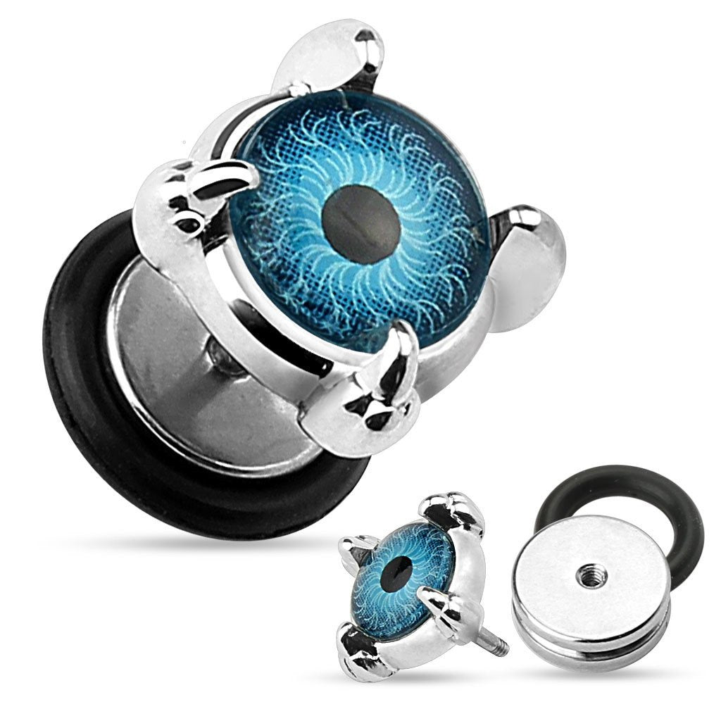 Earrings Rings Eyeball Set Front 316L Surgical Steel Fake Plugs 16g  pair