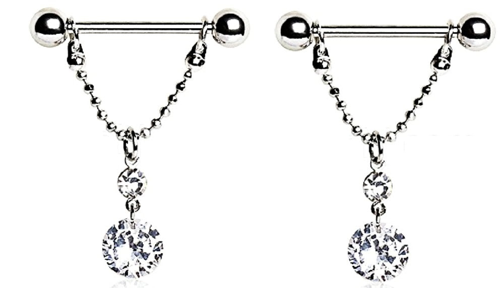 Nipple Rings 316L Surgical Steel  Love Dangle Ring Shield Pair