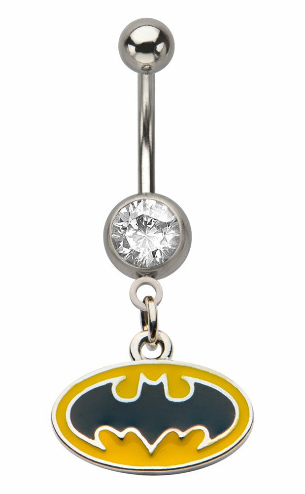 Belly Button Ring Navel 316L Surgical Steel, Cubic Zirconia,  Batman  14 Gauge