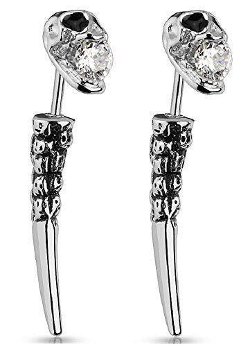 Earrings Rings Cheater Plug Skull Fake Taper  Surgical Steel 16g Sold as pair