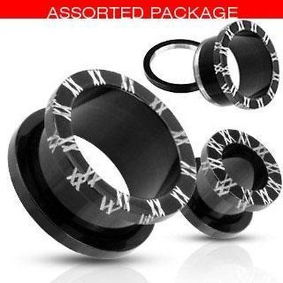 """Blackline Titanium IP Surgical Steel  Tunnel Plug 5/8"" Roman Numeral"""