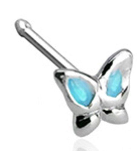 Body Accentz® 20GA .925 Sterling Silver Nose Stud with 3mm Butterfly with Epoxy Colored Wings