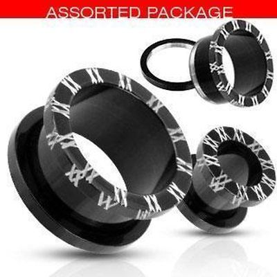 """Blackline Titanium IP Surgical Steel   Tunnel Plug 9/16"" Roman Numeral"""