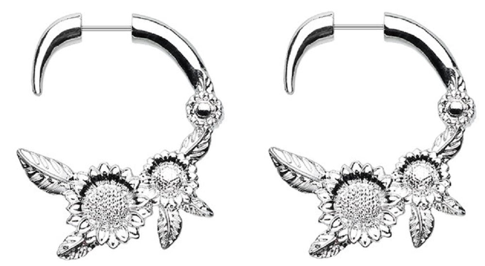Classic Sunflower Fake Hanging Taper Earring 20g
