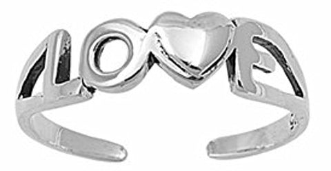 .925 Sterling Silver Toe Ring - Love