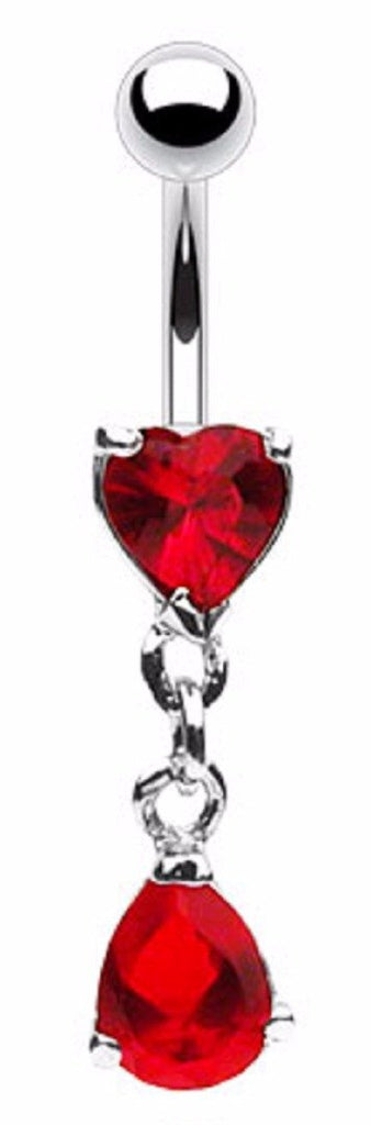 Belly Button Ring Navel Heart Teardrop Body Jewelry 14 Gauge
