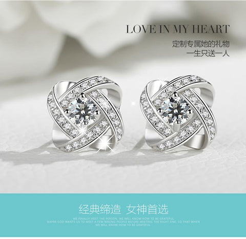 925 sterling silver CZ  round circle stud earring  crystal jewelry fashion luxury women new love girl engagement