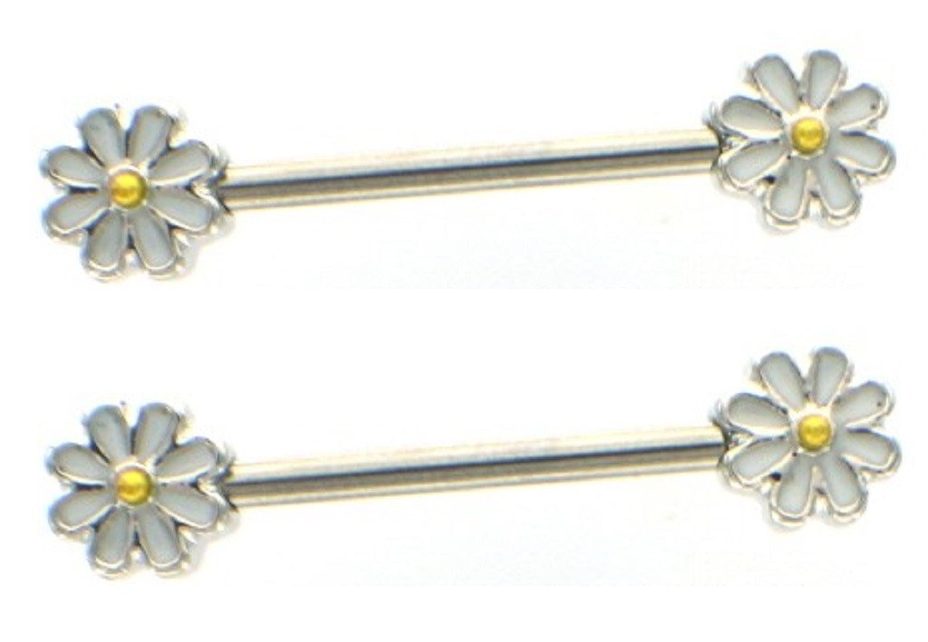Nipple Ring Spring Daisy Flower Nipple Barbell Ring Blossom Pair