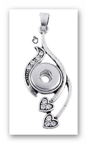 Pendant Heart for  charms Interchangable Jewelry snap button charm 12mm fit