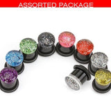Earrings Glitter Top Acrylic Single Flared Plugs with O-Rings- Sold as pair