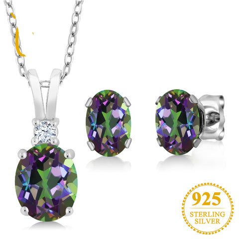 3.55 Ct Oval Rainbow Fire Mystic Topaz Pendant Necklace Earrings Set 925 Sterling Silver Jewelry Sets For Women