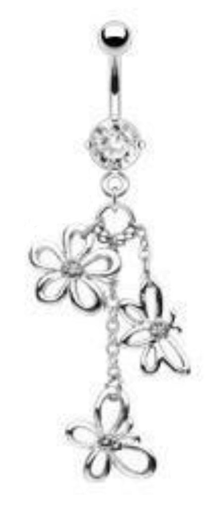 Body Accentz Belly Button Ring Surgical Steel Navel Ring Daisy Flower Butterfly