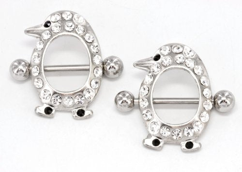 "Body Accentz® Nipple Ring Bars 14g 5/8"" 25mm high Penguin Nipple Body Jewelry Nipple Piercing Body Jewelry Pair 14 balls are 5mm - 14mm inner gap sold as pair"