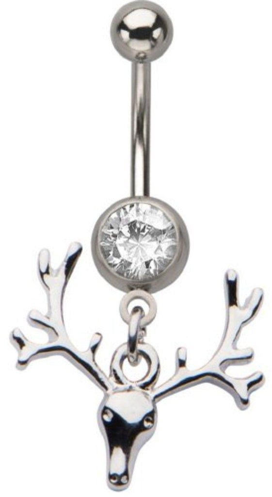 Belly Button Ring 14g Navel Deer Skull With Antlers Dangle