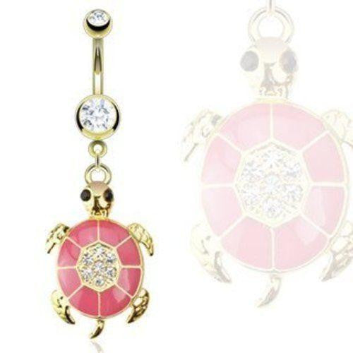 Belly Button Ring Gold IP Over 316L Surgical Steel Pink Epoxy Navel 14g 3/8''