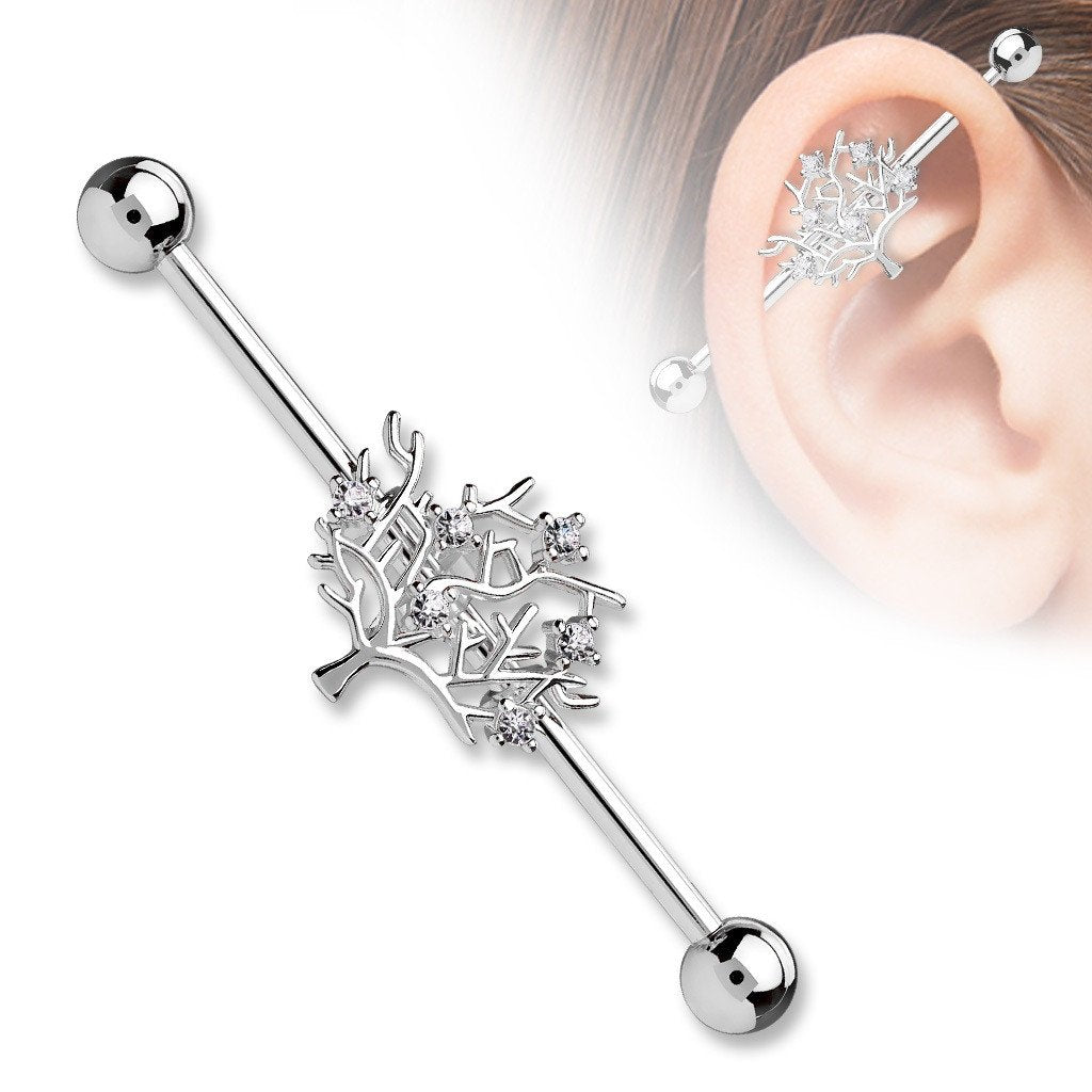 Industrial Barbell CZ Tree of Life 316L Surgical Steel 1 1/2 14g Bar