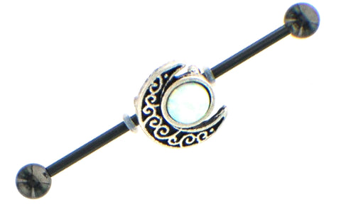 Industrial bar 1.5'' Barbell  Opal and Moon Charms 14ga Cartilage 316L Steel bar