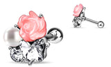 Tragus Barbell CZ Pearl Rose Flower 316L Surgical Steel Cartilage Bar 16g 1pc