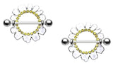 Nipple Ring Daisy Cosmo Flower barbell body Jewelry Pair sold as pair