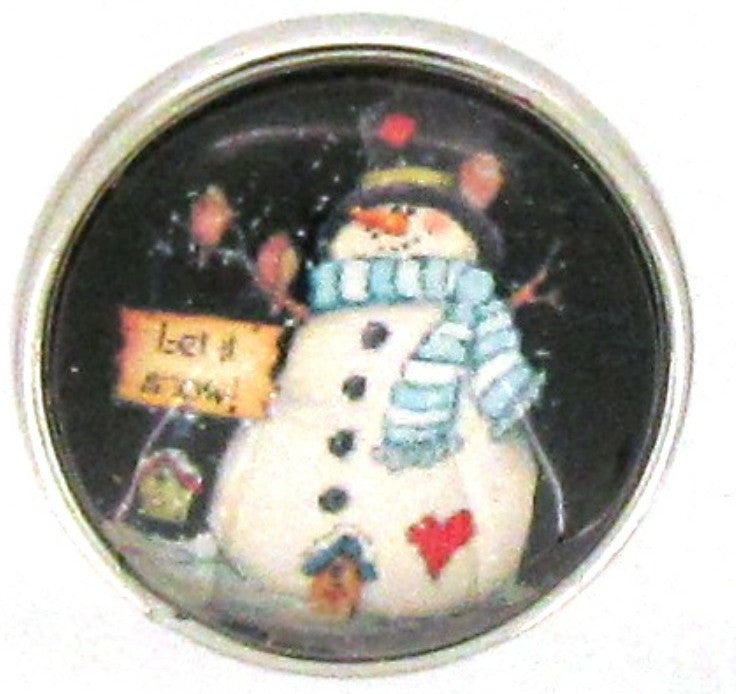 Snap button Snowman Let it snow 18mm charm chunk cardinal 18mm