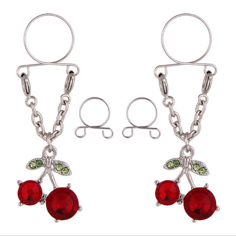 Cherry Non pierced Clip On Nipple Ring Women Crystal Fake Dangle Adjustable Body Jewelry