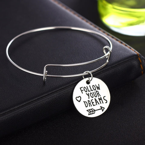 """Follow Your Dreams"" Arrow Charm Heart Pendant Expandable Wire Bangle Charm Bracelet Silver Jewelry"